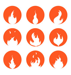 fire set silhouette in red circle vector image