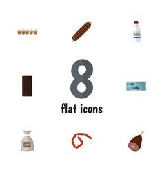 Flat icon meal set of eggshell box sack tin tuna vector