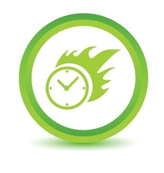 Green hot clock icon vector