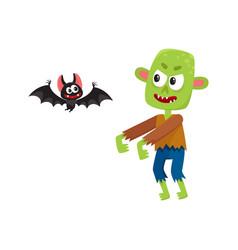 halloween monsters - green zombie and vampire bat vector image vector image