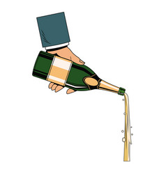 hand serving champagne vector image vector image
