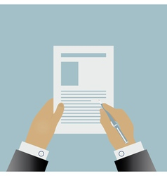 Hand signing a contract vector image