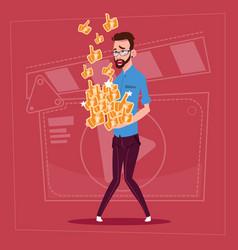 Man hold thumb up modern video blogger vlog vector