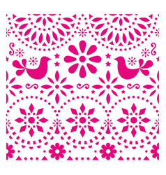 Mexican folk art pattern with birds and flo vector