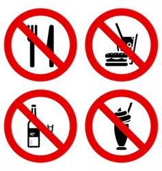 no eating and drinking signs vector image vector image