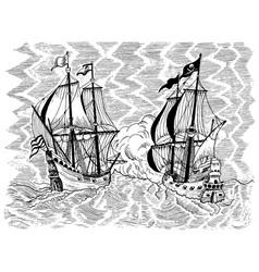 Pirates ships battle vector