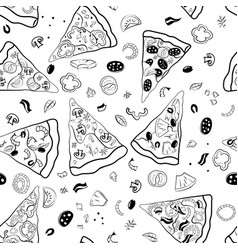 Pizza slices seamless pattern vector
