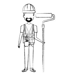 repairman builder with roller paint avatar vector image