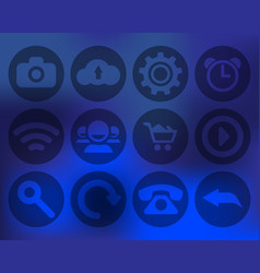set of transparent icons for mobile devices vector image vector image
