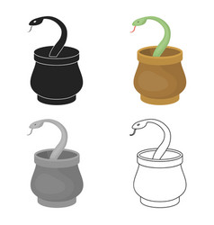 Snake in basket icon in cartoon style isolated on vector