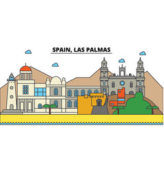 Spain las palmas city skyline architecture vector
