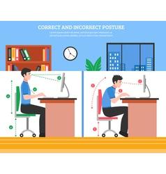 Spine sitting postures vector