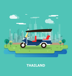 Tuk tuk transportation in thailand and vector