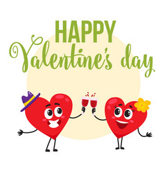 valentine day greeting card design with heart vector image vector image
