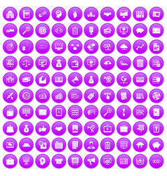 100 business process icons set purple vector
