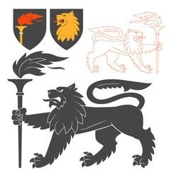 Black Lion With A Torch vector image