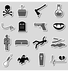 Death theme set of black simple stickers eps10 vector