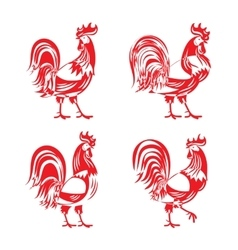 Stylized red cockerel rooster silhouette set vector