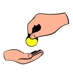 a hand giving a coin icon icon cartoon vector image