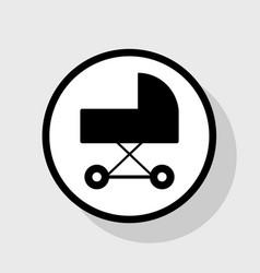 Pram sign flat black icon in vector