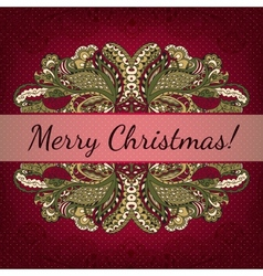 Christmas card with decorative frame vector image