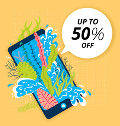 Concept of travel seaweed and sea wave in phone vector