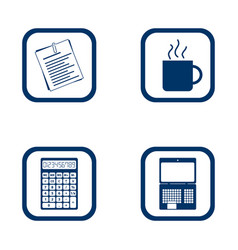 flat design icons office set vector image