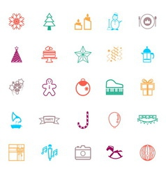 New year and christmas line icons flat color vector