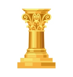 Corinthian realistic antique greek gold column vector