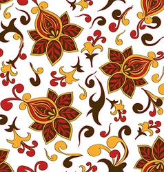 Seamless pattern of paisley floral ornament vector