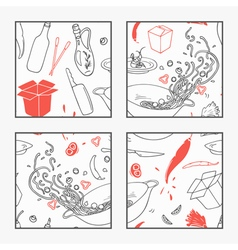 Abstract hand drawn wok restaurant elements poster vector