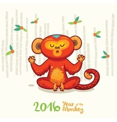New year card with red monkey for year 2016 vector