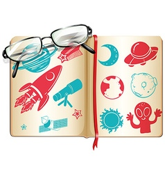 Book full with science symbols vector