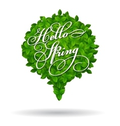 Hello Spring greeting in a speech bubble vector image