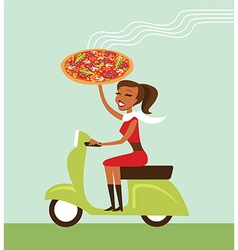 Courier deliver hot pizza vector