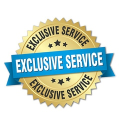 Exclusive service 3d gold badge with blue ribbon vector