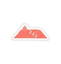 Paper sticker on white background roof snow vector