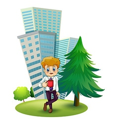 A businessman taking a break outside the office vector image vector image