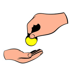 a hand giving a coin icon icon cartoon vector image