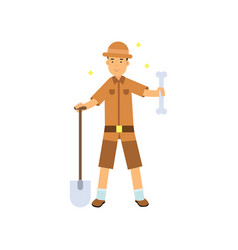 archaeologist standing with shovel and big bone in vector image