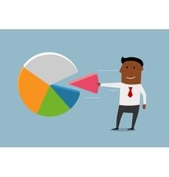 Black businessman take a market pie vector image
