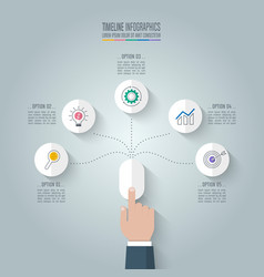Business hand click mouse with timeline vector