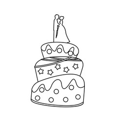Cake wedding icon vector