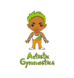 Cartoon Boy Gymnast vector image vector image