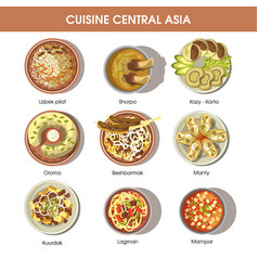 Central asia food cuisine icons for vector