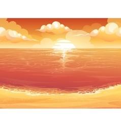 Crimson sun sunrise or sunset on the sea vector