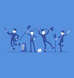 Dancing janitors team vector
