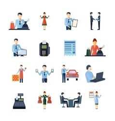 Different salesmen icons set vector