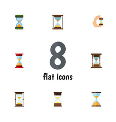 Flat icon hourglass set of instrument sand timer vector
