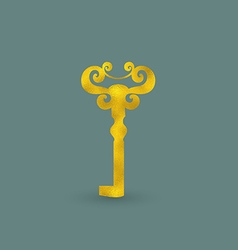 Golden old-fashioned key vector